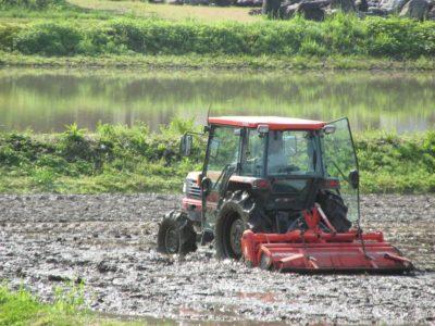 田起こし作業が行われています
